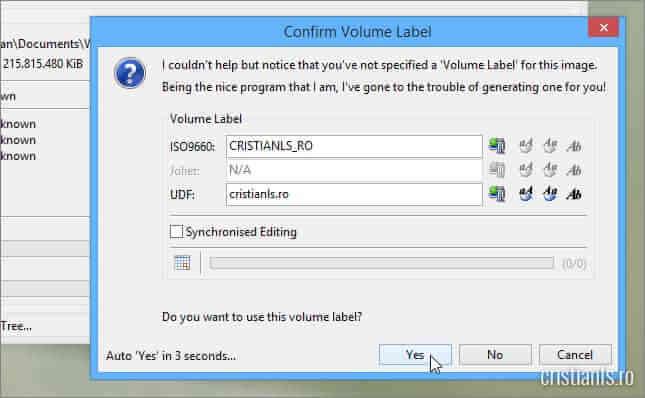 Confirm Volume Label