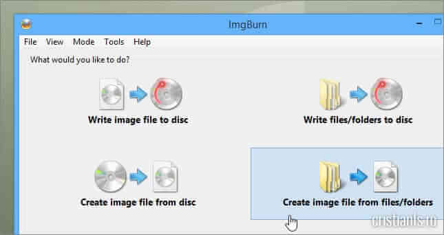 create image file from files/folders