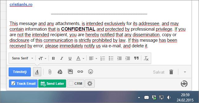 email trimis cu confirmare de primire