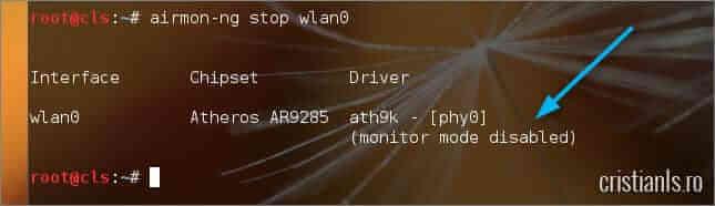 modul monitor dezactivat pentru wlan0