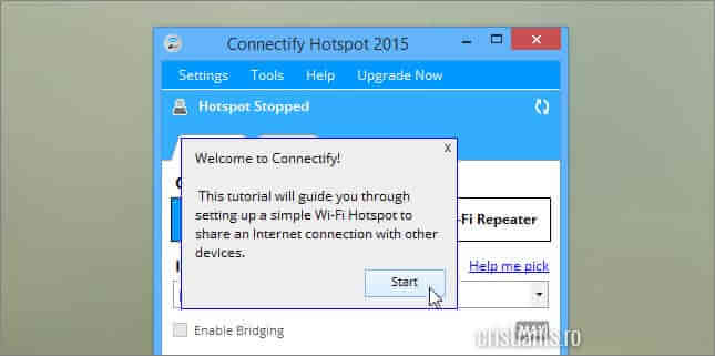 Accesarea tutorialului de configurare a Connectify