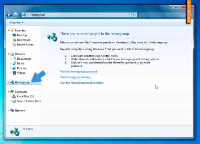 Elimina Homegroup din Windows Explorer