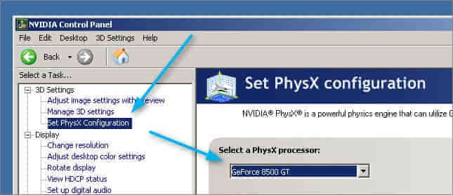 Set PhysX Configuration