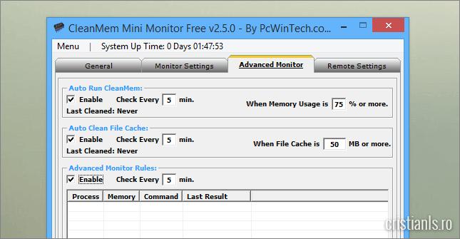 program de monitorizat si optimizat memoria ram