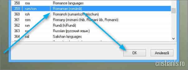 selectare limba romana pentru subtitrari