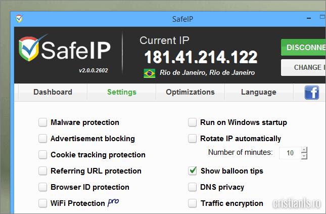 setarile programului SafeIP