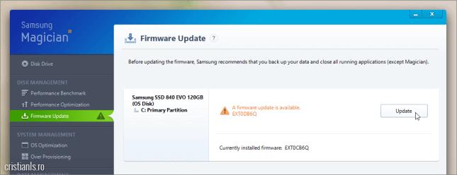 Update firmware Samsung SSD 840 EVO