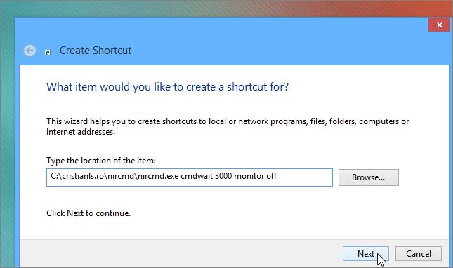 adresa shortcut oprire monitor