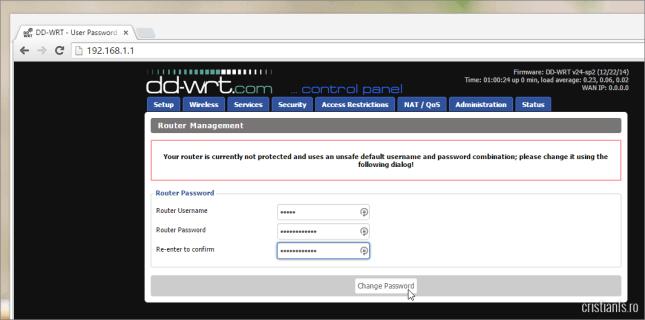 configurare nume de utilizator si parola in dd-wrt