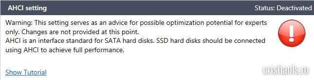 AHCI dezactivat pe SSD