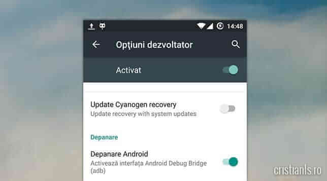 activare depanare android debug bridge