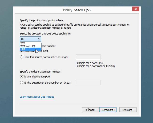 upd pentru limitarea vitezei de upload
