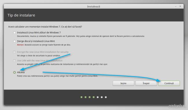Tipul de instalare al Linux Mint