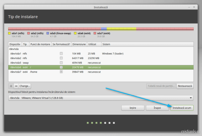 click pe instaleaza acum pentru a instala linux mint