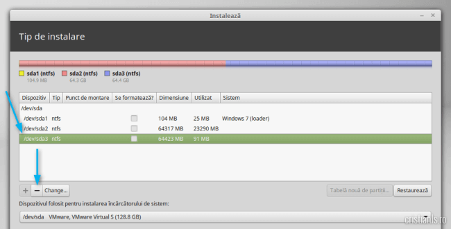 eliminare partitie in care va fi instalat linux mint