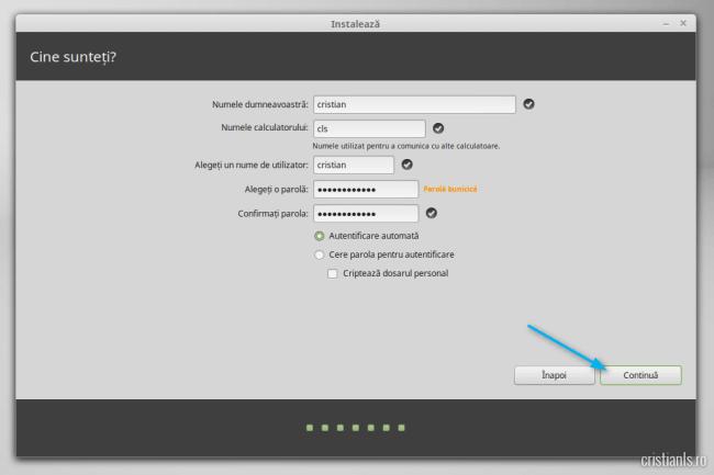 instalarea linux mint nume de utilizator si parola