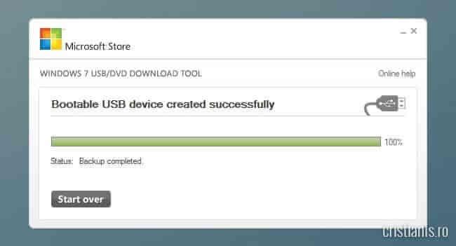 USB de instalare a Windows 7 a fost creat cu succes