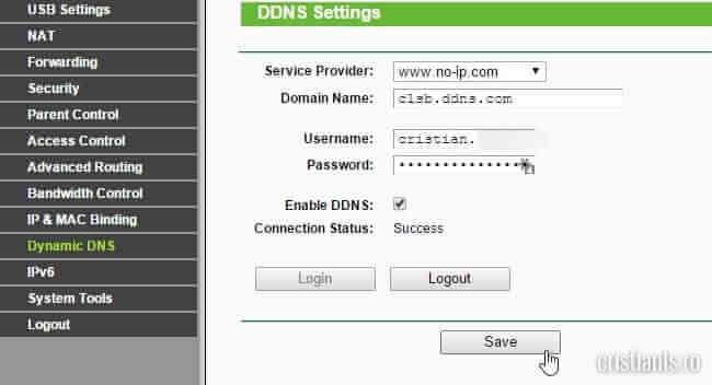 actualizare adresa IP dinamica de catre router