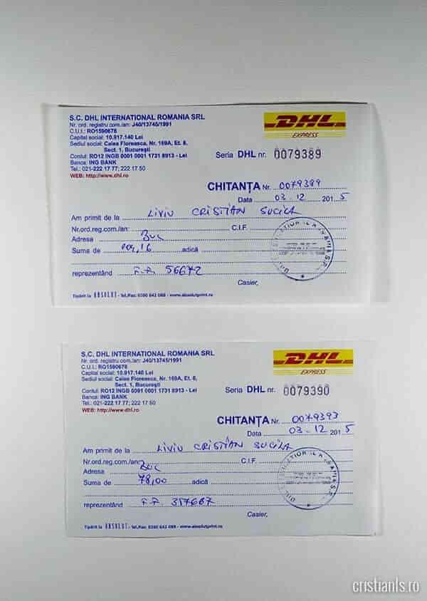 Chitanțe facturi DHL
