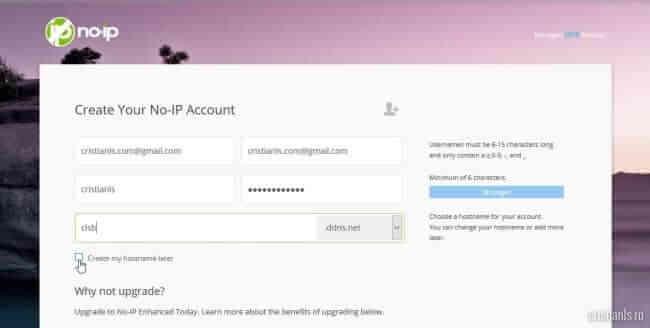 creare host dynamic dns pe noip.com