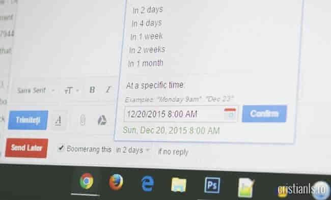 programare trimitere email prin gmail cu Boomerang