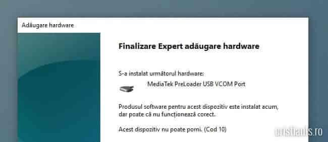 instalare driver MediaTek PreLoader USB VCOM Port