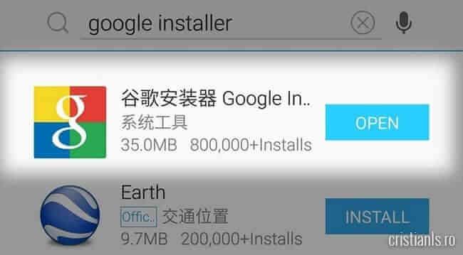 instalare google installer