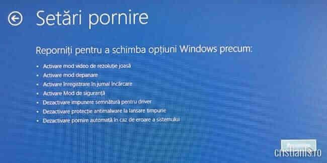 reporniti pentru a schimba optiuni Windows