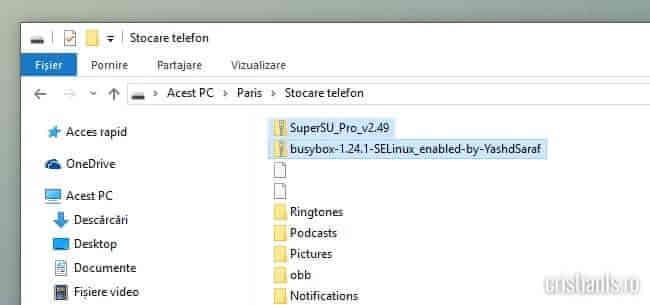 SuperSU si BusyBox in memoria telefonului
