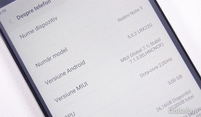 MIUI 7.1.3.0 Global pentru Xiaomi Redmi Note 3