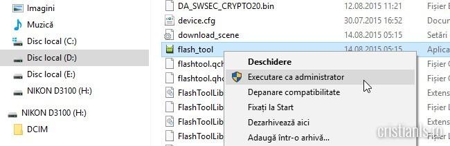flash_tool - excecutare ca administraro