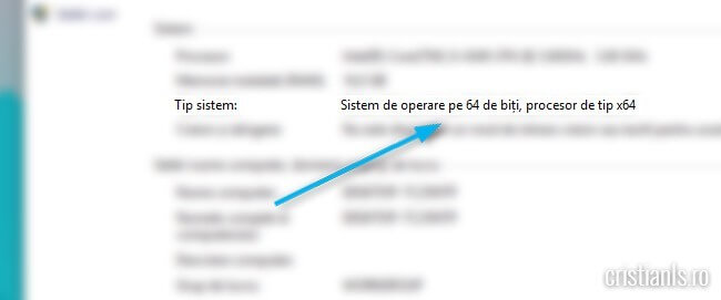 tipul sistemului de operare instalat