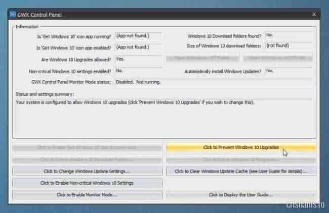 Click to Prevent Windows 10 Upgrades