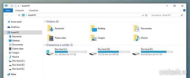 Windows Explorer în Acest PC