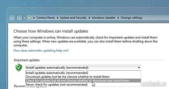 caută actualizări dar lasă-mă să aleg când se vor descărca și instala
