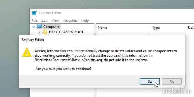 restaurare backup registry