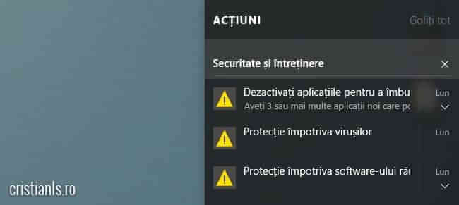 Centrul de acțiune Windows 10