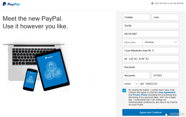 creare cont PayPal - formular date personale