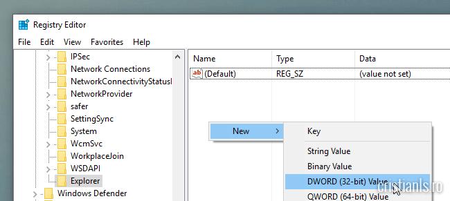 creare valoare dword
