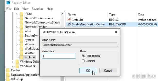 dezactivarea centrului de notificare Windows 10