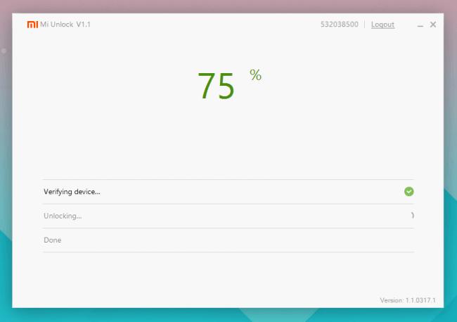 Mi Unlock 75%