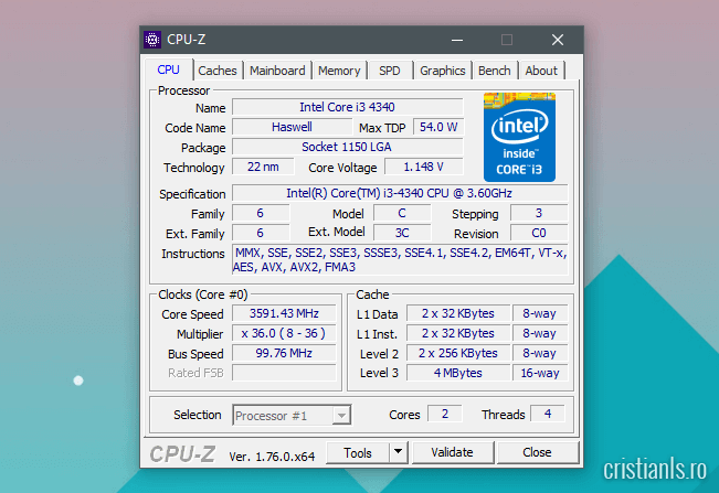 Prezentare CPU-Z fila CPU