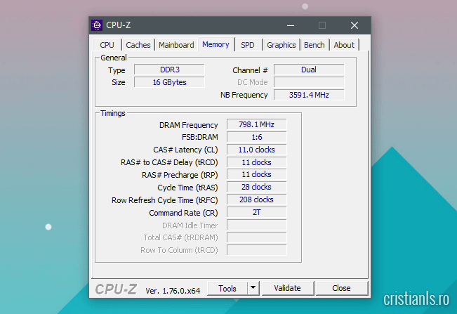 Prezentare CPU-Z fila Memory