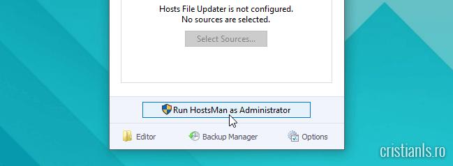 Run HostMan as Administrator