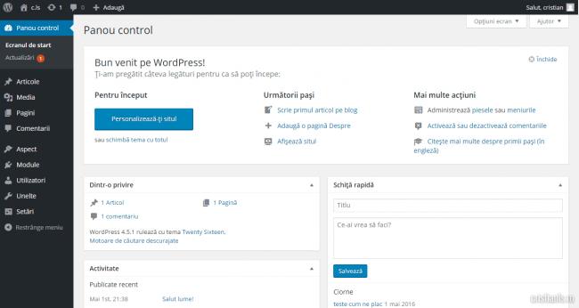 panoul de control wordpress