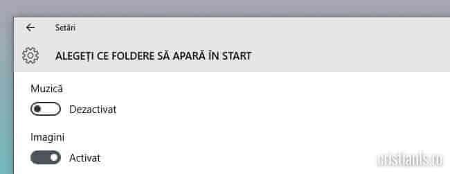 Activare afișare foldere în meniul Start