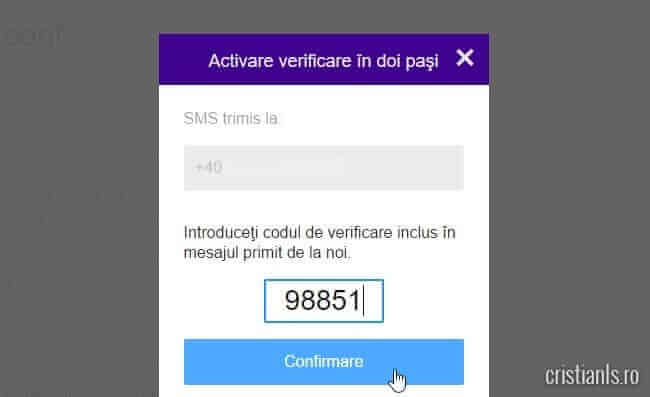 activare verificare in doi posi - cod sms