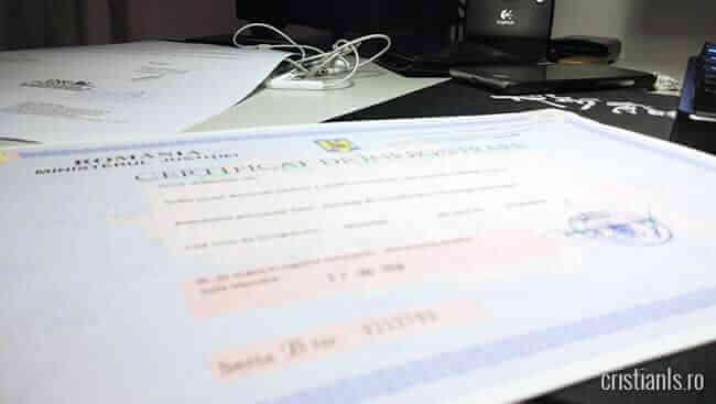 certificat de inregistrare
