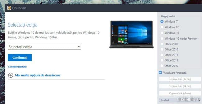 Instrument pentru descărcarea imaginilor ISO ale Windows