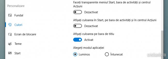 personalizare culori windows
